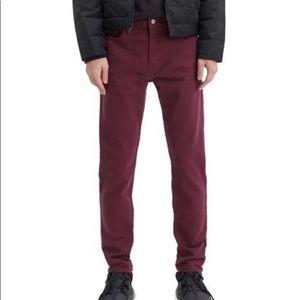 Men's slim taper maroon jeans